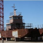 Buque balizador (aún sin finalizar) construido en el astillero.