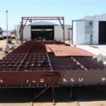 Construcción de una de las dos barcazas cisterna para ANCAP.