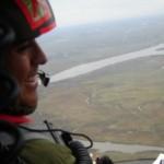 El T/N Martín Miranda realiza, con parte del equipo de Producción Nacional una recorrida aérea por el humedal.