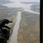 Vista aérea de los humedales del Santa Lucía.