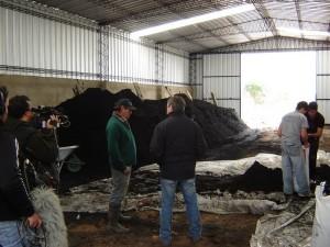 En este galpón, Fachín y sus empleados embolsan el sustrato que venden a otros viveros y productores.