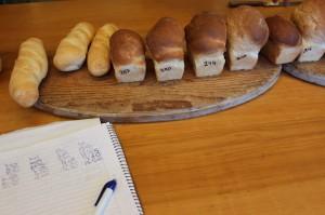 Puede apreciarse la diferencia de volumen en los panes de molde. El 287 claramente no pasó la prueba.