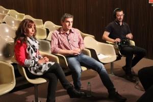 a directora del Notariado Alejandra Mejlovitz, Alejandro Landoni y el sonidista Martín Ariosa.